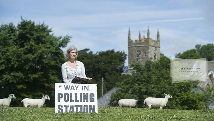 Photo by Guy Harrop. 23/06/16.  Brexit or not? Pictured is Presiding officer Sharen Gullick,  outside rural Shirwell polling station in North Devon as voting takes place in the EU referendum across Britain today. image copyright guy harrop info@guyharrop.com 07866 464282