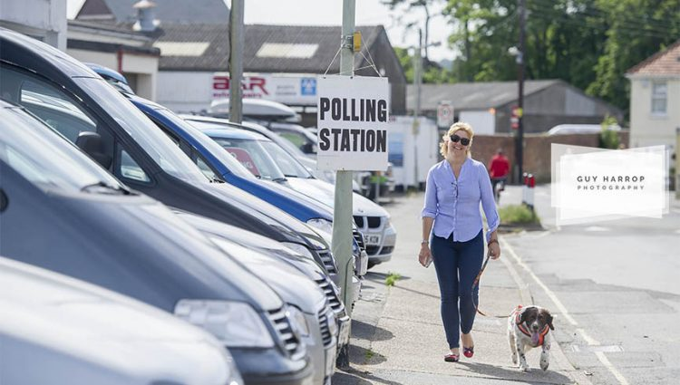 Photo by Guy Harrop. 23/06/16.  A voter walks by a polling station at a garage polling station in Barnstaple, North Devon as voting takes place in the EU referendum across Britain today. image copyright guy harrop info@guyharrop.com 07866 464282