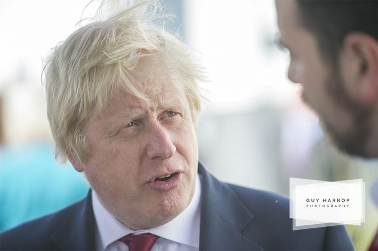 Photo by Guy Harrop. 01/07/16. Brexit leave campaigner Boris Johnson who announced he is no longer running for the Tory leadership bid pictured Friday after been ousted from the leadership race by fellow conservative member Mr Gove. Boris was in Devon visiting  Chumleigh college where he happily declared the school more open than it was 4 yrs ago. image copyright guy harrop info@guyharrop.com 07866 464282